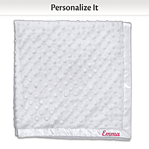 Personalized White Minky Blanket For Dolls Up To 22 Inches