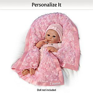 Pink Fleece Personalized Blanket For Dolls Up To 22 Inches