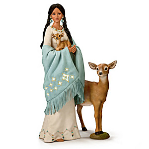 Maiden Portrait Doll With Deer Figures And Illuminated Shawl