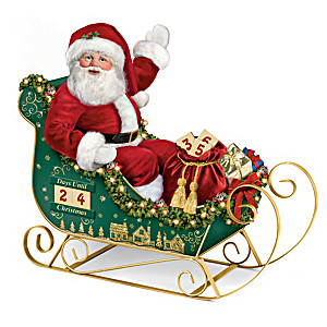 """Countdown To Christmas"" Santa Doll With Musical LED Sleigh"