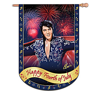 Elvis Presley Fourth Of July Celebration Decorative Flag