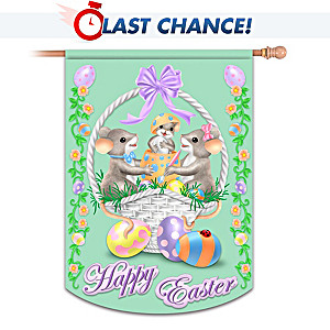 """Charming Tails """"Happy Easter"""" Indoor/Outdoor Decorative Flag"""