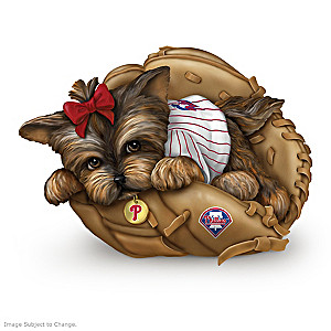 """Fur-ever A Fan"" Philadelphia Phillies Yorkie Figurine"