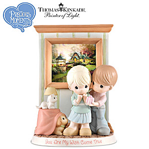 Precious Moments Thomas Kinkade 2017 Figurine With Art Print