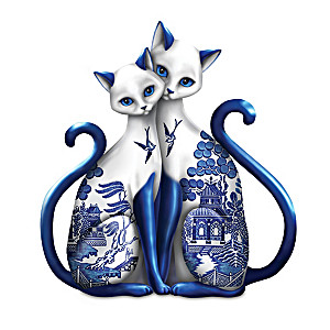 Purr-ecious Blessing Blue Willow-Inspired Porcelain Figurine