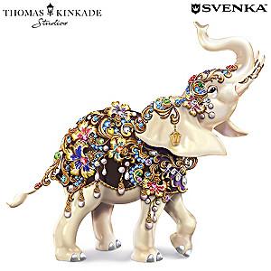 Thomas Kinkade Elephant Figurine With Swarovski Crystals
