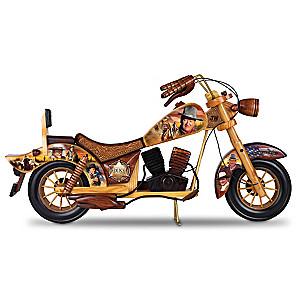 John Wayne Wooden Motorcycle With Rolling Wheels