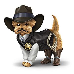 """""""Sher-ruff S. Paws"""" Cowboy Yorkie Figurine"""