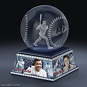 Babe Ruth Laser-Etched Glass Baseball Sculpture