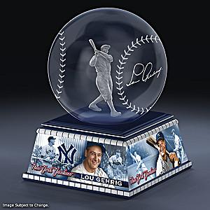Lou Gehrig Laser-Etched Glass Baseball Sculpture