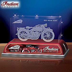 1920 Indian Scout Motorcycle Laser-Etched Glass Tribute