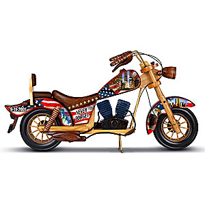 Never Forget 9/11 Commemorative Wooden Motorcycle Sculpture