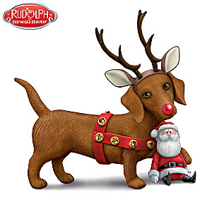 "Rudolph-Inspired ""Dachshund Through The Snow"" Figurine"