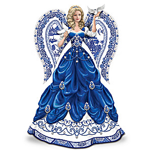 Blue Willow China Inspired Angel With 80 Swarovski Crystals