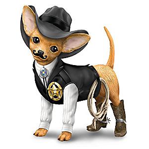 """""""Sher-ruff Paws"""" Cowboy Chihuahua Figurine"""