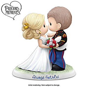 "Precious Moments USMC ""Always Faithful"" Wedding Figurine"