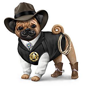 """Sher-ruff S. Paws"" Pug Figurine"
