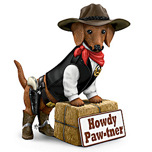 """Howdy Paw-tner"" Western-Themed Dachshund Welcome Sculpture"