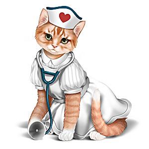 """""""Nurses Are Su-purr Heroes"""" Nurse Cat Figurine"""