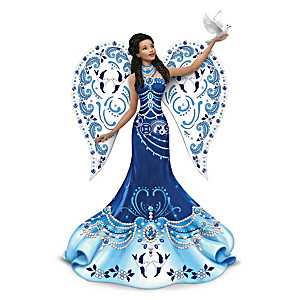 "Keith Mallett ""Sparkling Blue Willow"" Angel Figurine"