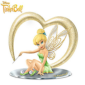 Disney Tinker Bell Figurine With Glitter and Mirror Base