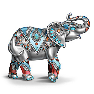 Sterling Strength Elephant Figurine With Faux Gems