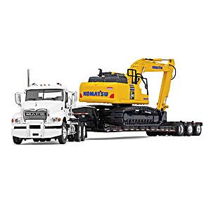 1:64-Scale Diecast Mack Truck, Trailer And Komatsu Excavator
