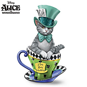 "Disney ""Purr-fectly Mad"" Cat-In-A-Teacup Figurine"