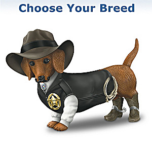 """Sher-ruff S. Paws"" Cowboy Dog Figurine: Choose Your Breed"
