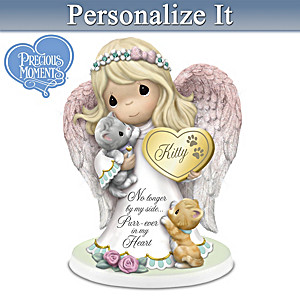 """Purr-ever In Our Hearts"" Personalized Angel Figurine"
