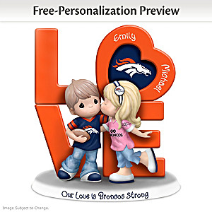 Precious Moments Broncos Personalized Couple Figurine