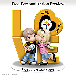 Precious Moments Steelers Personalized Couple Figurine