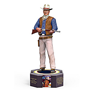 John Wayne Figurine With Famous Quotes And Portraits