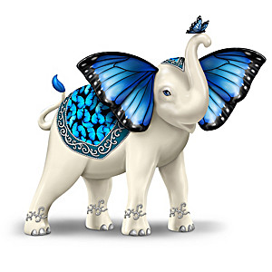 """Blue Majesty"" Hand-Painted Elephant Figurine"