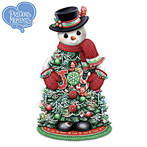 Precious Moments Illuminated Holiday Snowman Tree Sculpture