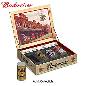 """The King Of Beers"" Miniature Replica Can Set With Display"