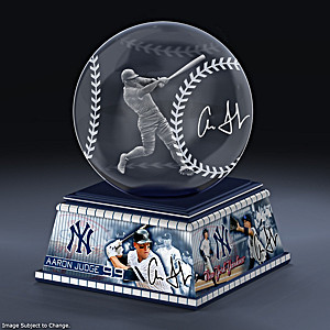 Aaron Judge Laser-Etched Glass Baseball Sculpture