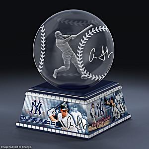 Aaron Judge Laser-Etched Glass Baseball Sculpture