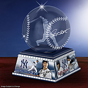 Giancarlo Stanton Laser-Etched Glass Baseball Sculpture