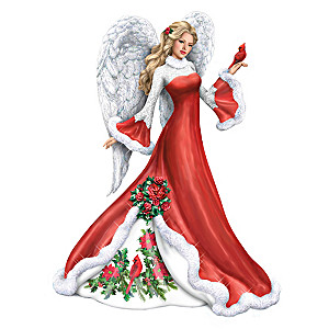 """Wintery Interlude"" Angel Figurine With Sculpted Cardinal"