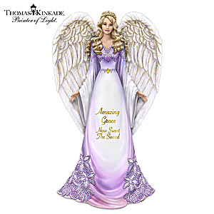 "Thomas Kinkade Angel Figurine With ""Amazing Grace"" Lyrics"