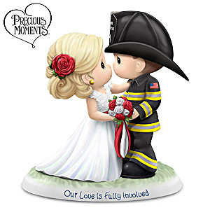 Precious Moments Bride & Fireman Groom Porcelain Figurine