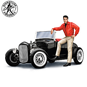 1:18-Scale Ford Model A Sculpture With Elvis Figure