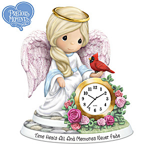 "Precious Moments ""Time Heals All"" Porcelain Angel With Clock"