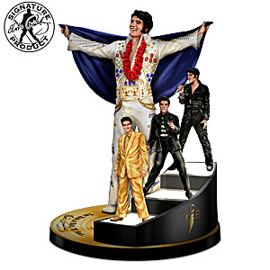 Elvis Sculpture With Lighted Staircase & Swarovski Crystals