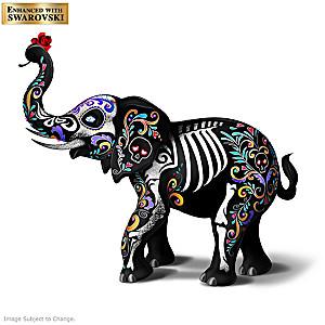 """""""Sugar Skull Spirit Elephant"""" With Swarovski Crystal Eyes"""