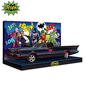 Batmobile Sculpture On Display Base With Batman Characters