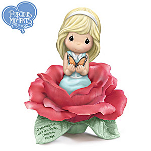 Precious Moments Granddaughter Figurine With Porcelain Rose