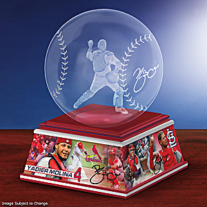 Yadier Molina Laser-Etched Glass Baseball Sculpture