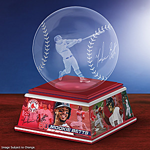 Mookie Betts Laser-Etched Glass Baseball Sculpture